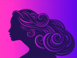 Beautiful girl with long thick wavy hair. Beauty salon icon. Vector illustration
