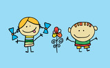 Cute cartoon kids, girl and boy with flower - 197764163