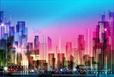 Night city background. Vector illustration - 197764990