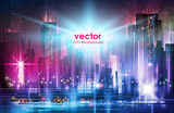 Vector illustration background city night in neon style architecture buildings - 197765393