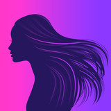 Beautiful girl with long thick wavy hair. Beauty salon icon. Vector illustration - 197771799