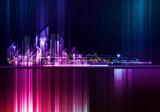 Night City Skyline. Vector Cityscape Background - 197771999