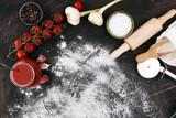 Fresh original Italian raw pizza preparation with fresh ingredients - 197776946
