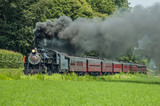Antique Steam Engine Train with Vintage Passenger Cars