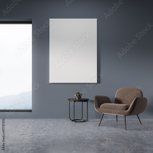 Panoramic living room, beige armchair, poster
