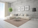Mock up a stylish living room with beige corner sofa and hipster background.
