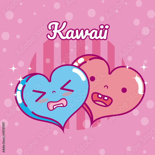 Cute hearts kawaii cartoon - 197811197
