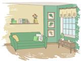 Living room graphic green color interior sketch illustration vector - 197822708