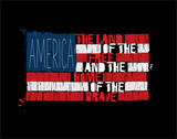 American Text Flag - America Land of the Free Home of the Brave - 197830140