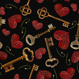 Embroidery keys and heart seamless pattern. Template fashionable clothes, t-shirt design. Golden vintage keys and red heart pattern - 197831342