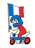 Motorbike rider with flag illustration
