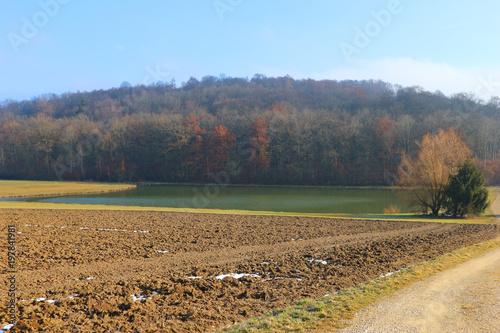 Foto op Plexiglas Grijs Landwirtschaft Felder