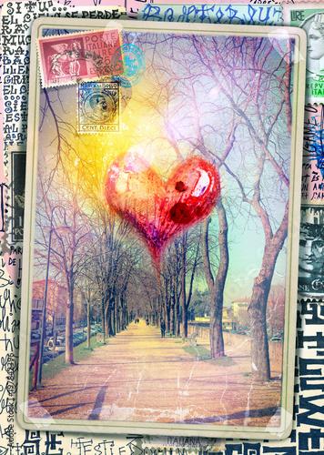 Fotobehang Imagination Cartolina vintage con cuore e viale alberato