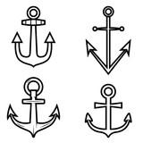 Set of anchor icons. Design element for logo, label ,emblem, sign.