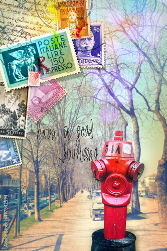 Keuken foto achterwand Imagination Vintage postcard with avenue, collage and old stamp's
