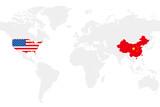 USA and China business world map chart, vector illustration