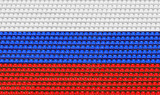 Empty tribunes of the football stadium. Colors of the Russian tricolor flag.