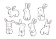 Draw vector illustration set character design of cute rabbit Doodle style