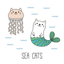Hand Drawn   A Kawaii Funny Cat Mermaid Jellyfish Swimming In The Sea  Objects   Line Drawing Design Concept For Children Print Sticker