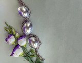 Prairie Gentian and silver eggs with beaded silver necklace, Easter