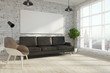 Brick living room with empty banner
