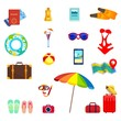summer object icons set, holiday, sea, beach