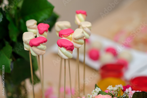 decorated table with sweets, chocolate, cream, juice, compote, jelly, condensed milk, cake, bise, sweets at a wedding party