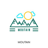 moutain logo isolated on white background for your web, mobile and app design