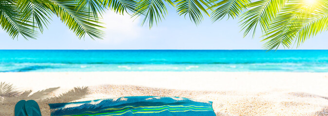 badetuch, flipflops, palmen, meer