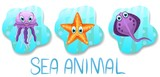 Set of underwater animals.Jellyfish,star on blue water background. Sea and ocean fauna. Vector illustration.