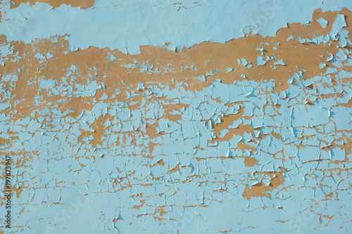 Multicolored peeling blue wall texture and background. Surface with scratches. empty template - 197873947