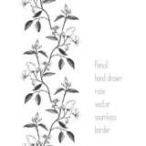 Vertical border made of pencil sketched rose branch - 197875763
