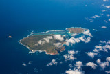 Top view aerial photo, tropical island in open sea