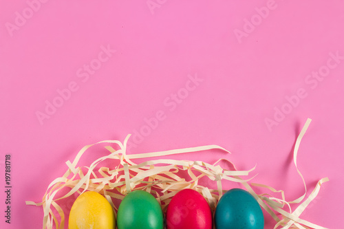 Easter colorful eggs on the bright backgroun - 197881718