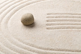Zen sand and stone garden with raked lines and curves. Simplicity, concentration or calmness abstract concept - 197885557