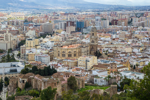 Fotobehang Nieuw Zeeland Cityscape aerial view of Malaga, Andalucia, Spain. The Cathedral of Malaga