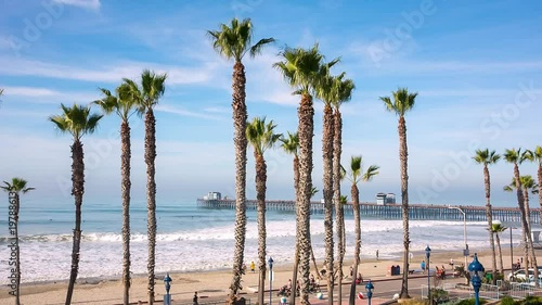 California Oceanside pier view over the ocean with palm trees and beach, travel destination © aiisha