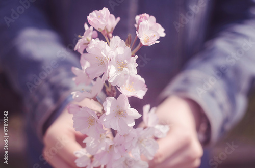 young person holding bunch of pink flowers in her hands