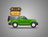 Green car with baggage isolated on transparent background. Layered and detailed illustration