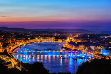 Budapest City At Blue Hour By The Danube River In Hungary