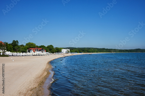 Baltic Sea beach in resort town of Sopot in Poland