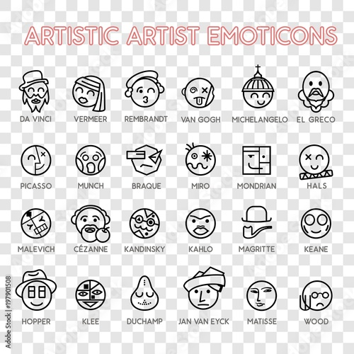 Emoticon artistic artist vector emoji Smile icon set for web © qpiii
