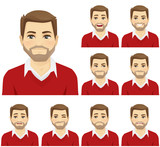 Man with different facial expressions set vector illustration - 197907371