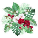 Palm leaves and orchid flowers, vector illustration.