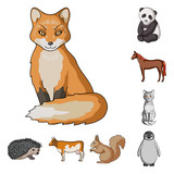 Fototapeta Realistic animals cartoon icons in set collection for design. Wild and domestic animals vector symbol stock web illustration.