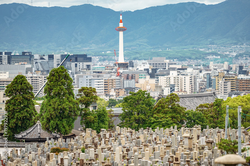 Fotobehang Kyoto Kyoto city with tower and cemetery