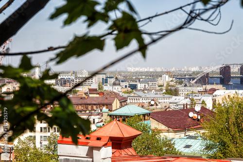 Foto op Plexiglas Kiev Kiev, Ukraine. A view of the Roof of Vozdvizhenka on Podol. City landscape.