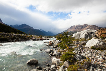 Rio blancas river before the thunderstorm in summer, Argentina
