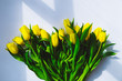 overhead view bouquet of yellow tulips on white background with shadows. day light