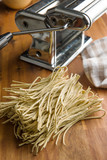 Italian pasta tagliolini with truffles. - 197935795